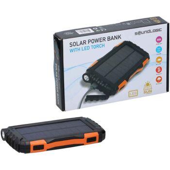 Solar- Powerbank mit LED Taschenlampe