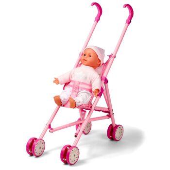 28-503134, Happy People Puppe 30 cm, mit Sound, mit Buggy, Puppenwagen