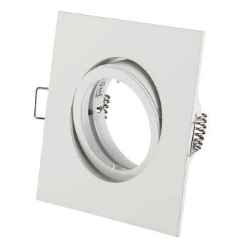 50x Alu Einbaurahmen Einbauleuchte Bajonett ECKIG - Weiß