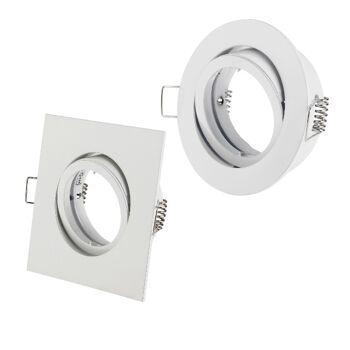 60x Alu Einbaurahmen Einbauleuchte Bajonett RUND/ECKIG - Weiß