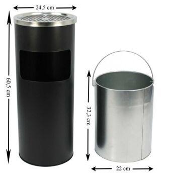 ecolle Metall-Standaschenbecher 12 Liter mit integriertem Mülleimer