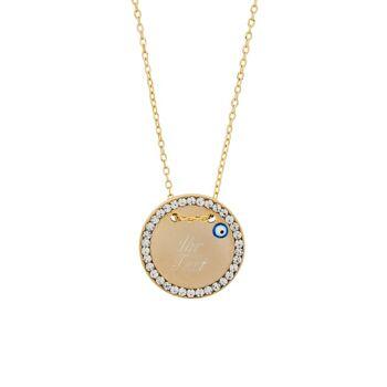 Halskette MIT GRAVUR - Gravurplatte 2,5 cm Münze Rund Scheibe mit Blauem Auge Nazar Boncuk - Gold Farbe Zirkonia Strass