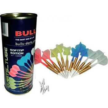 Bulls Dart Röhre 12 Softdarts farbl sortiert, 1Set