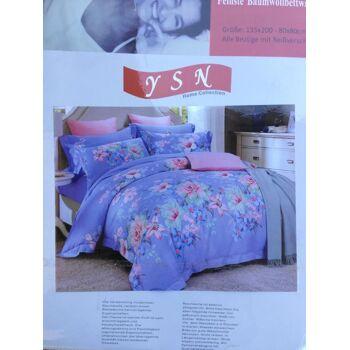 Sommerbettwäsche - Blumen-Design - 1 Person - 135x200 cm + 1 Kissenhülle 80x80 cm Indigo und Rosa