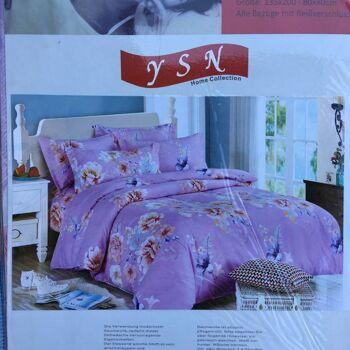 Sommerbettwäsche - Blumen-Design - 1 Person - 135x200 cm + 1 Kissenhülle 80x80 cm Rosa
