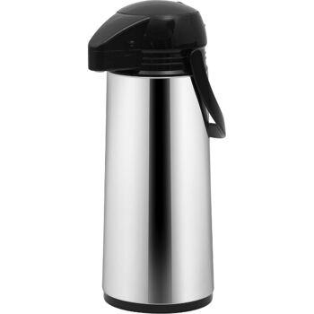 28-752156, Edelstahl Thermoskanne mit Pumpe 1900ml, Pumpkanne, Kaffeekanne, Teekanne