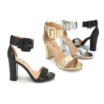 Damen Woman Sommer Trend High-Heels Sandalette Metallic Look Schnalle Schuh Shoes Business Freizeit  - 13,90 Euro