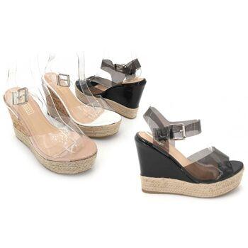 Damen Woman Sommer Trend Keil Plateau Sandalette Espadrille Transparent Slipper Schuh Shoes Business Freizeit  - 12,90 Euro