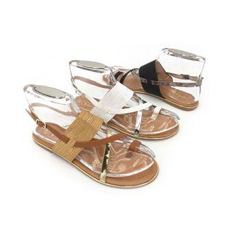 Damen Woman Sommer Trend Sandalette Zehentrenner Metallic Glanz Sparkle Riemchensandale Schuh Shoes Business Freizeit - 9,90 Euro
