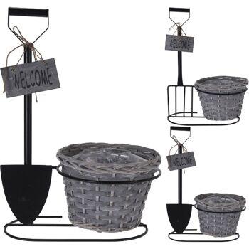 28-907551, Metall Blumentopf mit Deko und Schild, Pflanztopf
