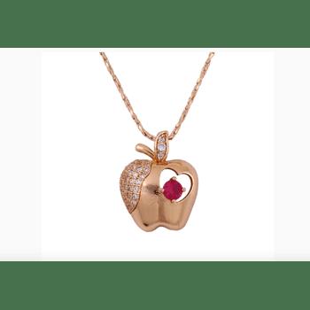 Halskette Anhänger - Apfel Apple. Der Anhänger ist mit einem Zirkonia-Stein geschmückt