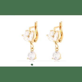 Ohrringe Ohrstecker für Damen Kristall nickelfrei - Zirkonia Strasssteine Gold Farbe