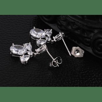 Ohrringe Ohrstecker Strasssteine, Silber Farbe
