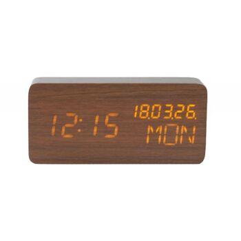 Holz-Wecker mit Datums-, Wochen- und Temperaturanzeige dunkelbraun