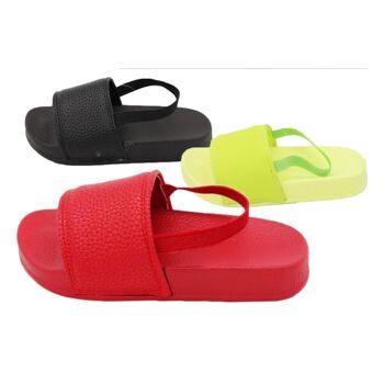 Damen Trend Slipper Uni Sandale Slip on Schuhe Schuh Shoes Business Freizeit Schuh nur 8,90 Euro