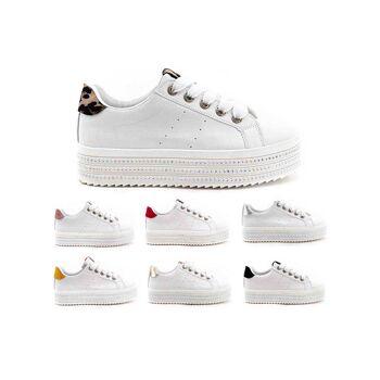 Damen Trend Sneaker Trend Leopard Metallic Look Schnür Schuhe Schuh Shoes Sportschuhe Freizeit - 13,90 Euro