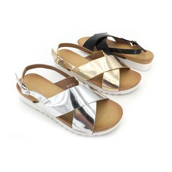 Damen Trend Sandale Metallic Look Schuhe Schuh Shoes Sommer Business Freizeit Schuh nur 9,90 Euro