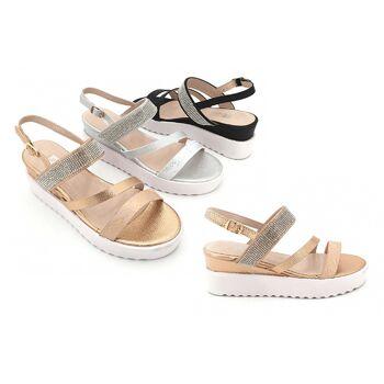 Damen Trend Sandale Metallic Look Strass Steine Schuhe Schuh Shoes Sommer Business Freizeit Schuh nur 11,90 Euro