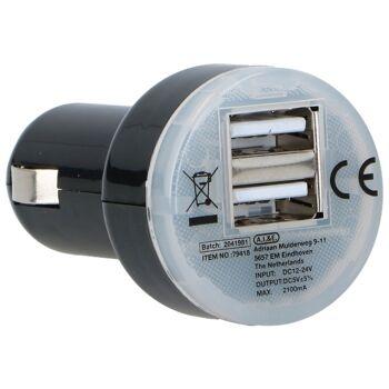 28-138664, Ladegerät für Zigarettenanzünder, 2 x USB, 12/24 V, 2,1 A, KfZ-Adapter