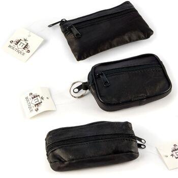 28-705845, Leder Schlüsseletui mit Reißverschluss