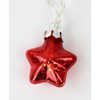 Lichterkette mit roten Glassternen Weihnachtsdekoration