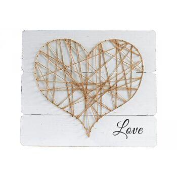 Wandbild Heart Holz 30x35cm, 4 Stück