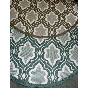 120 x  In & Outdoorteppich WendeteppichTerra Silber Grün Rund 150 cm Terrasse Balkon-Schimmel- und wasserbeständige Qualität