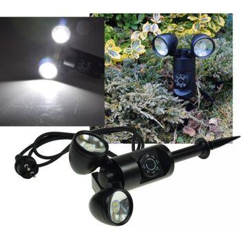 LED Gartenleuchte ''CT-GS Sens DUO'' 2x 3W, 1,4m Kabel+Erdspieß, Sensor+Timer