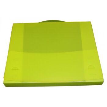 Dokumentenbox Sammelbox A4 mit Tragegriff transparent limone