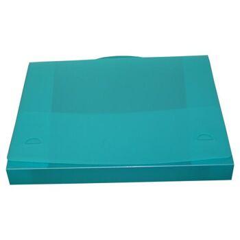Dokumentenbox Sammelbox A4 mit Tragegriff transparent türkis