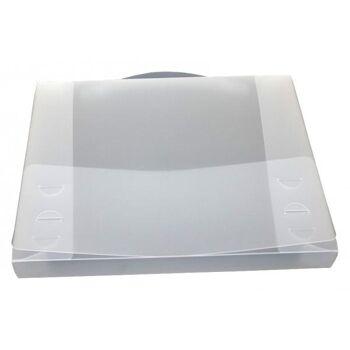 Dokumentenbox Sammelbox A4 mit Tragegriff transparent weiss