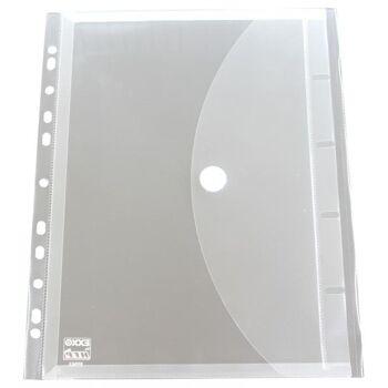Dokumententaschen A4 mit Dehnfalte mit Abheftrand transparent farblos - 5 Stück