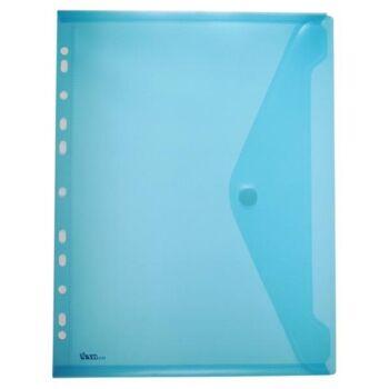 Dokumententaschen Klettverschluss u. Abheftrand A4 quer tr.blau-10 Stück
