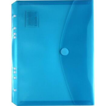 Dokumententaschen Klettverschluss u. Abheftrand A5 quer trans.blau-10 Stück