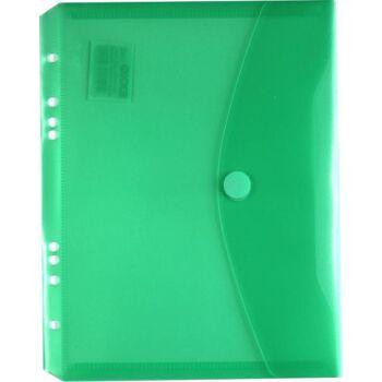 Dokumententaschen Klettverschluss u. Abheftrand A5 quer trans.grün -10 Stück