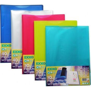 Flexible Sichtbücher A4 mit 40 Hüllen - 30 Stück farbig sortiert