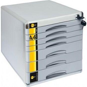 Hochwertige Schubladenbox A4 abschließbar mit Schloss mit 7 Fächern aus Metall