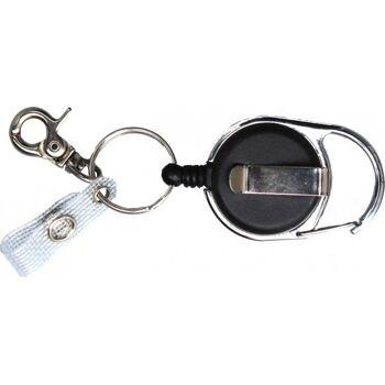 Jojo Ausweishalter multi aus schwarzem Kunststoff mit Karabinerhaken und Lasche