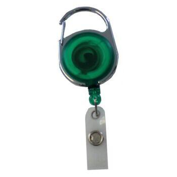 JOJO - Ausweishalter rund Metallumrandung transparent grün - 10 Stück
