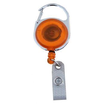 JOJO - Ausweishalter rund Metallumrandung transparent orange - 100 Stück