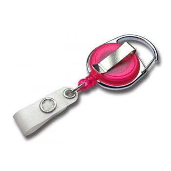 JOJO - Ausweishalter rund Metallumrandung transparent pink - 100 Stück