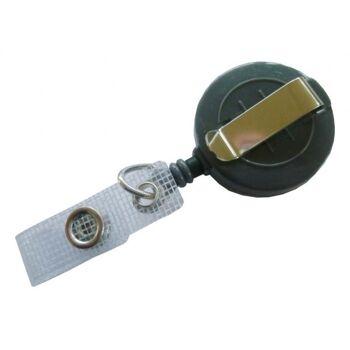 JOJO - Ausweishalter runde Form mit Gürtelclip grau - 10 Stück