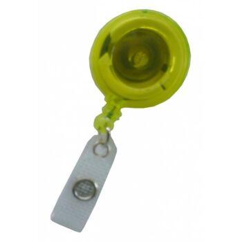 JOJO - Ausweishalter runde Form mit Gürtelclip transparent gelb - 10 Stück