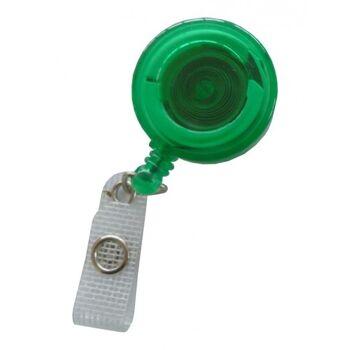 JOJO - Ausweishalter runde Form mit Gürtelclip transparent grün - 10 Stück