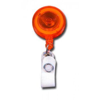 JOJO - Ausweishalter runde Form mit Gürtelclip transparent orange - 10 Stück