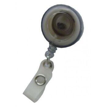 JOJO - Ausweishalter runde Form mit Gürtelclip transparent rauch - 10 Stück