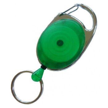 JOJO oval Metallumrandung Schlüsselring transp. grün 100 Stück