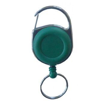 JOJO rund Metallumrandung Schlüsselring u. Clip - grün - 10 Stück