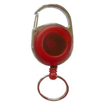 JOJO rund Metallumrandung Schlüsselring u. Clip trans. rot - 10 Stück