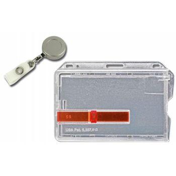 Kartenhalter mit Ausschieber rot mit Jojo Metall - 10 Stück